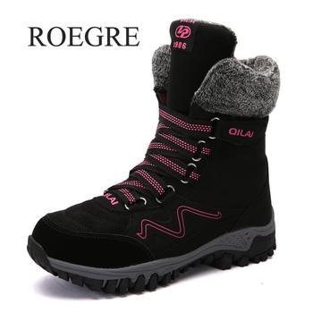 ROEGRE/2018 г. новые женские ботинки, кожаные зимние ботинки высокого качества, женские теплые непромокаемые зимние ботинки на шнуровке, Botas Mujer