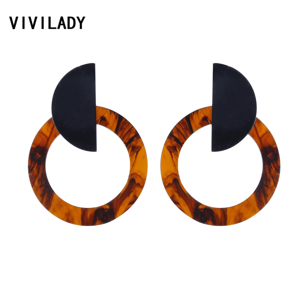 VIVILADY Trendy Acrylic Brown Round Dangle Earrings Women Circle Geometric Brincos Bijoux Statement Jewelry Wedding Party Gifts