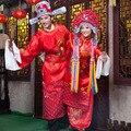 Красный Китайский стиль свадебное платье замуж дракон и феникс загрузки мужчин и женщин Традиционный Hanfu Вышивка древний костюм