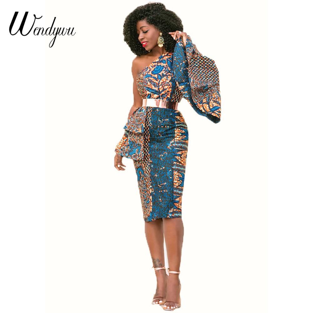 wendywu pencil dress 2018 autumn one shoulder vintage