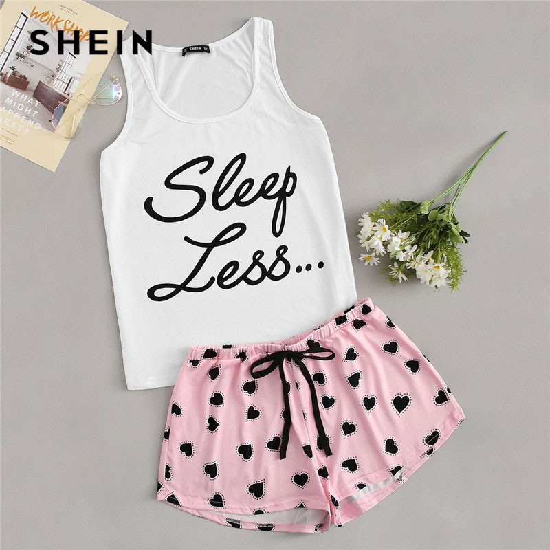 SHEIN Letter Print Tank Top And Allover Heart Print Shorts PJ   Set   Women Summer Drawstring Waist Shorts Sleeveless Tank Nightwear