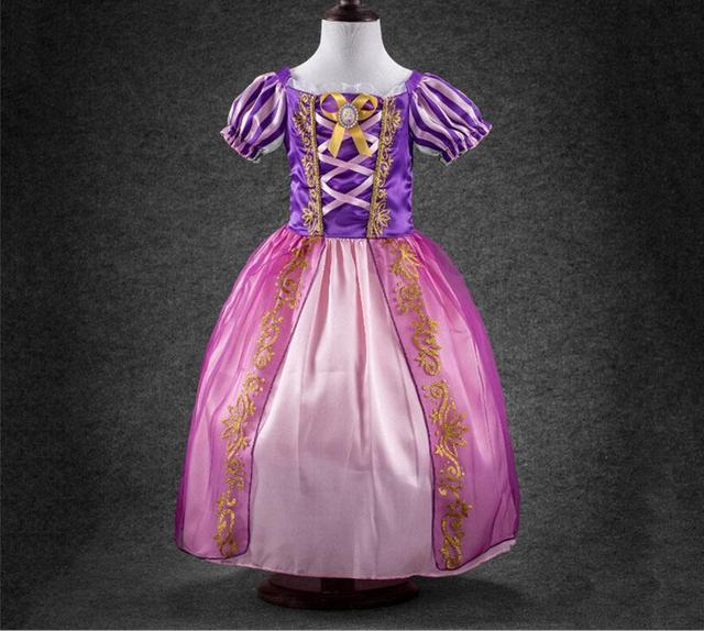 8a61e1194c6 Âge 2-12 ans princesse filles cendrillon robe enfants vêtements neige blanc  robe raiponce Aurora