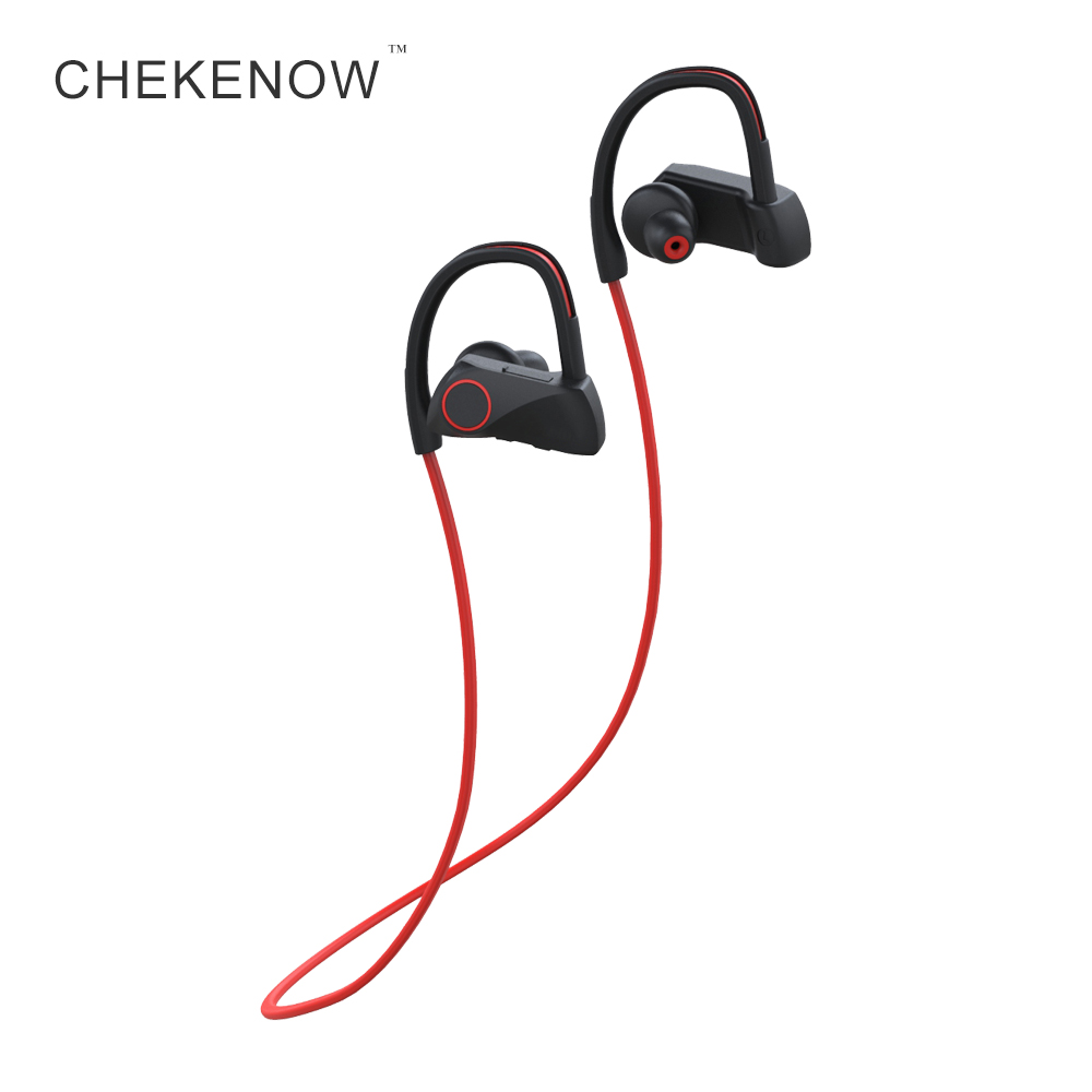 Chekenow Wireless Bluetooth Earphone Sports IPX7 Waterproof Headset With Mic Stereo Earpiece For Phone remax 2 in1 mini bluetooth 4 0 headphones usb car charger dock wireless car headset bluetooth earphone for iphone 7 6s android