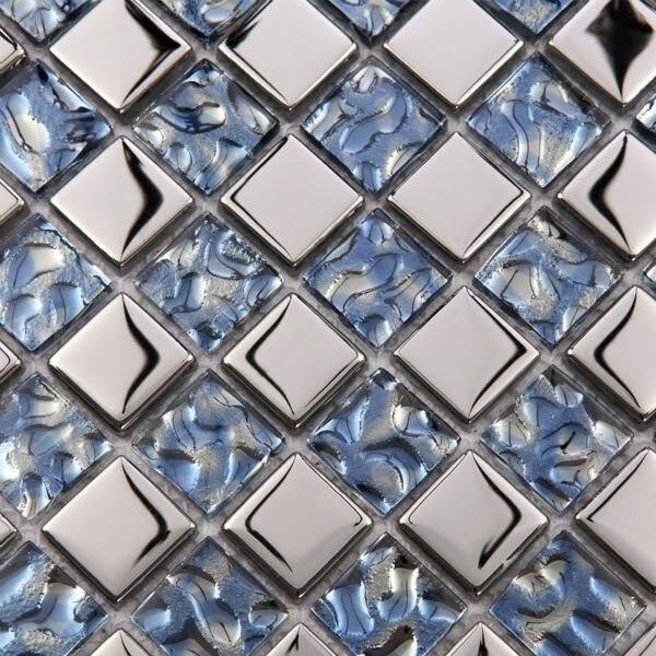 Metallic Mosaic Tile Mirror Brushed Blue Kitchen