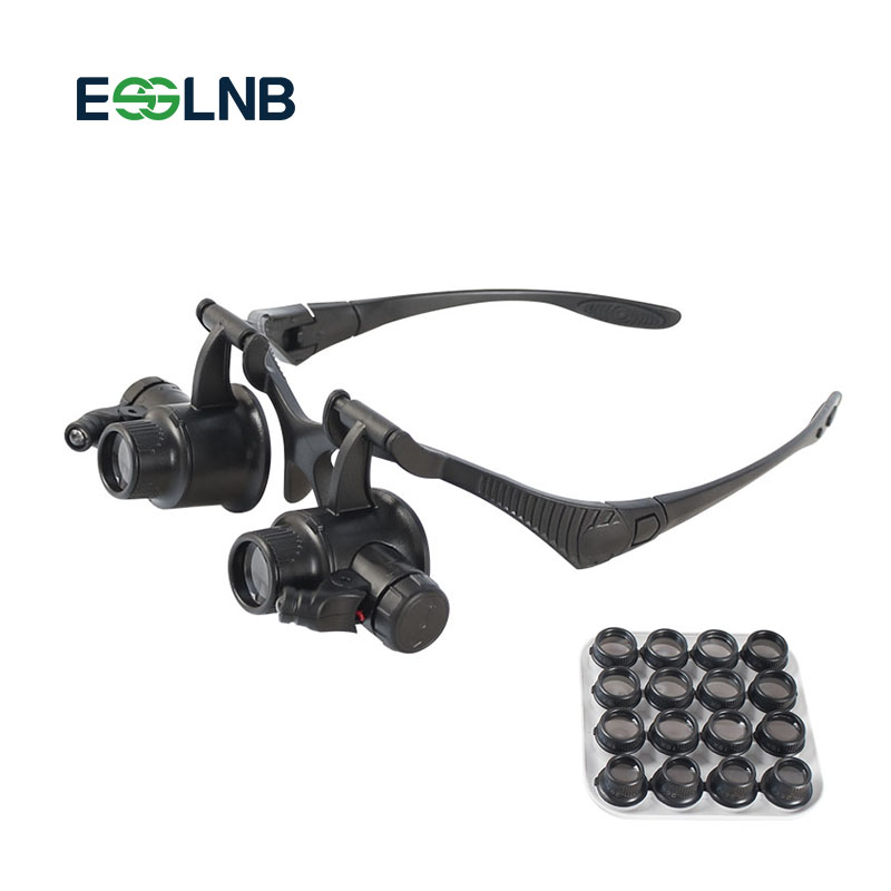 Magnifying Glass Lupa 8 Pair Lens Eye Jewelry Watch Repair Reading Magnifier Glasses With 2LED Lights