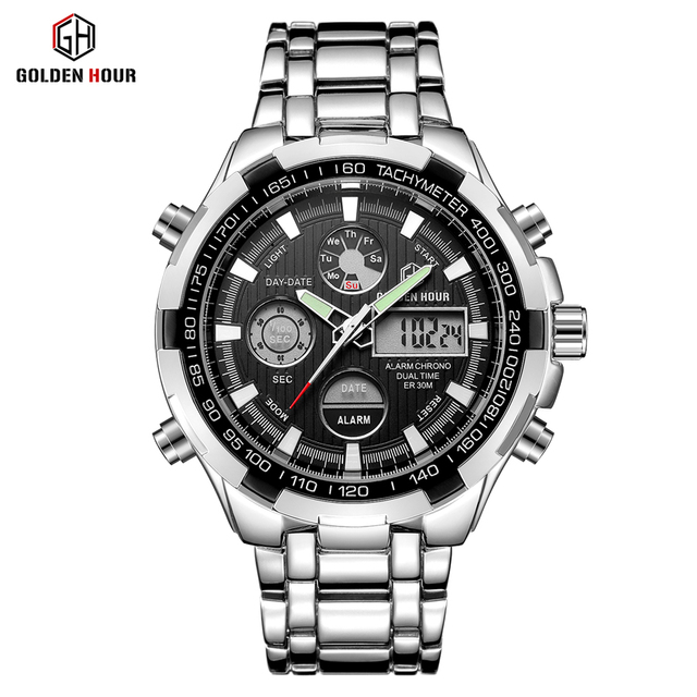 GOLDENHOUR Luxury Brand Waterproof Military Sport Watches Men Silver Steel Digital Quartz Analog Watch Clock Relogios Masculinos