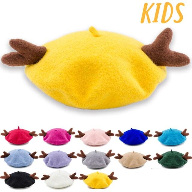 5a43b67ed7c25 Muchique Children Berets with Deer Horns Cute Lovely Wool Kids Beret Hats  for 2017 Winter Christmas AntlersElk Hat 675022