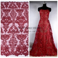 Wine Cord Sequins Brand Evening Wedding Dress Lace Fabric 51 Gold Black Off White Deep Blue
