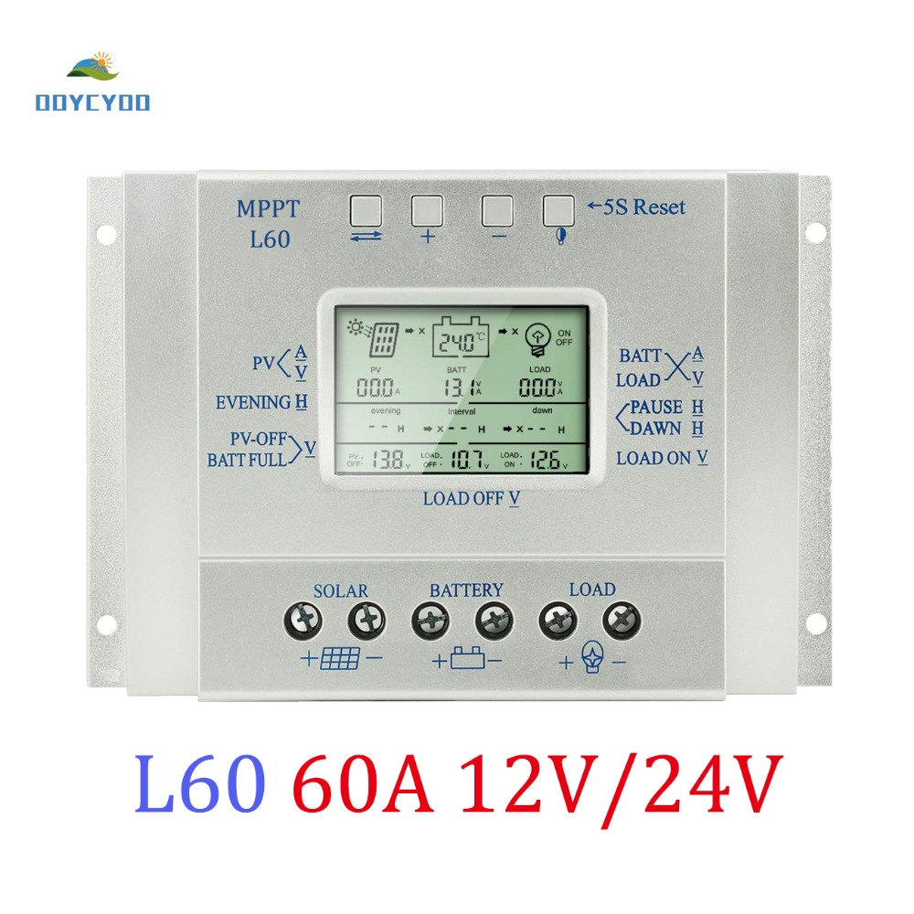OOYCYOO 60A 12V 24V Solar Panel Regulator LCD MPPT Charge Controller 3 Timer USB