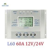 OOYCYOO 60A 12 В 24 В солнечная панель регулятор жк-Контроллер Заряда MPPT 3 таймера и USB