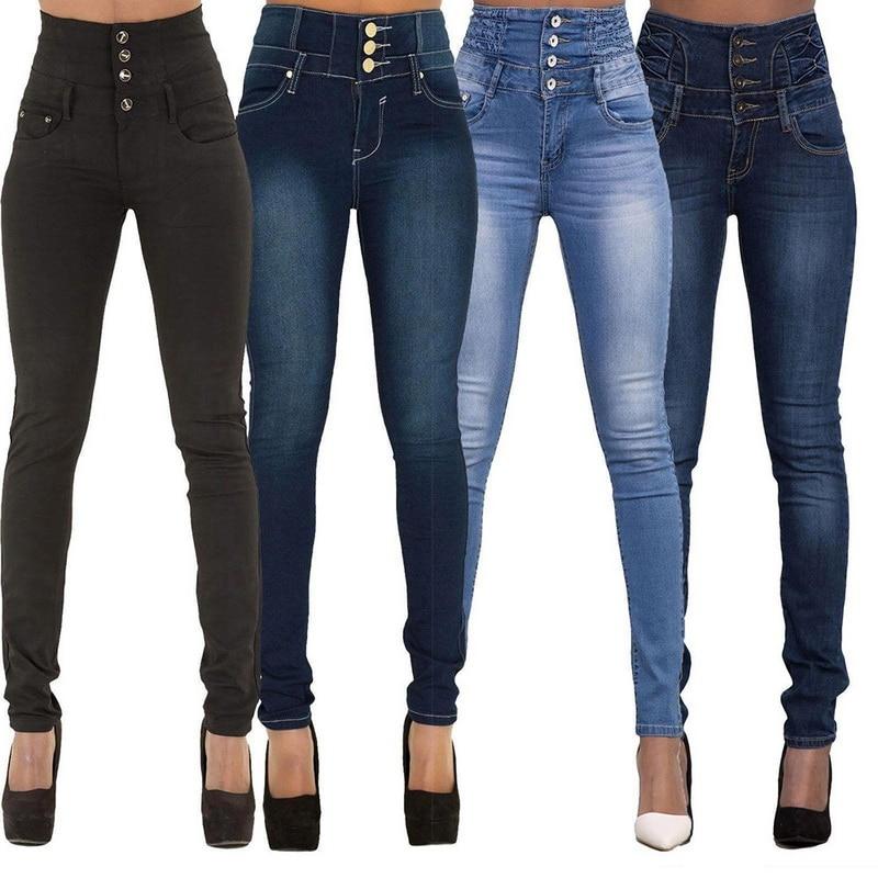 Laamei 2019 Autumn Winter Women Brand Skinny Denim Pencil Pants High Waist Slim Button Pockets Pants Stretch Jeans Women Jeans