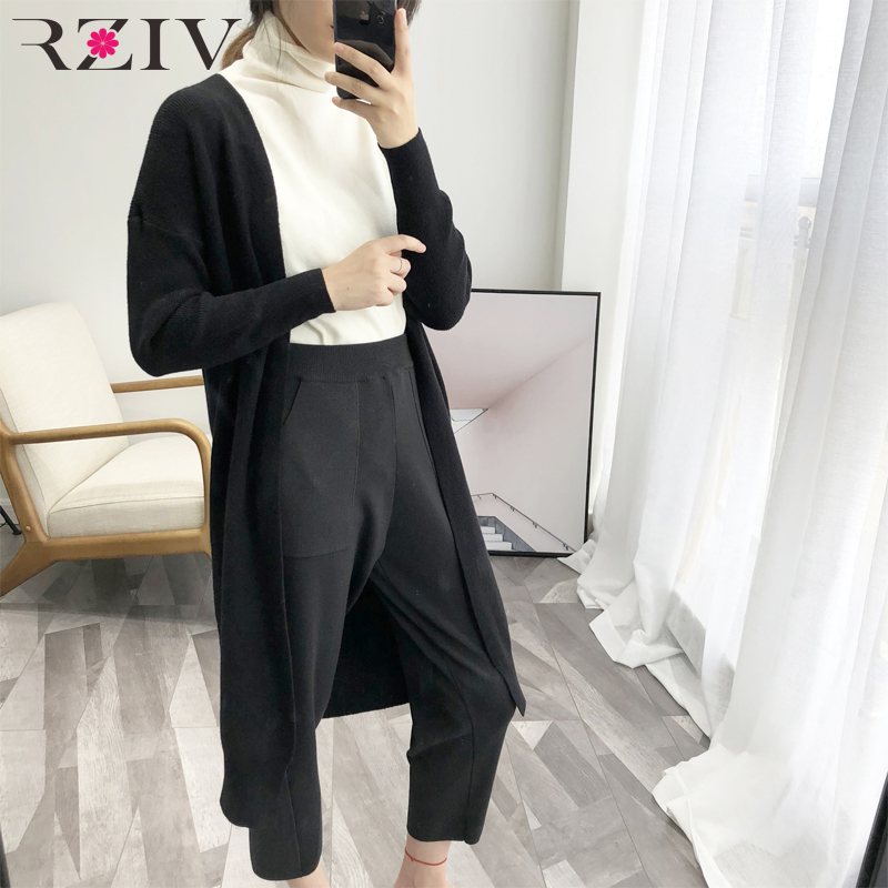 RZIV Spring Woman Cardigan Sweater Casual Solid Color Long Cardigan Sweater