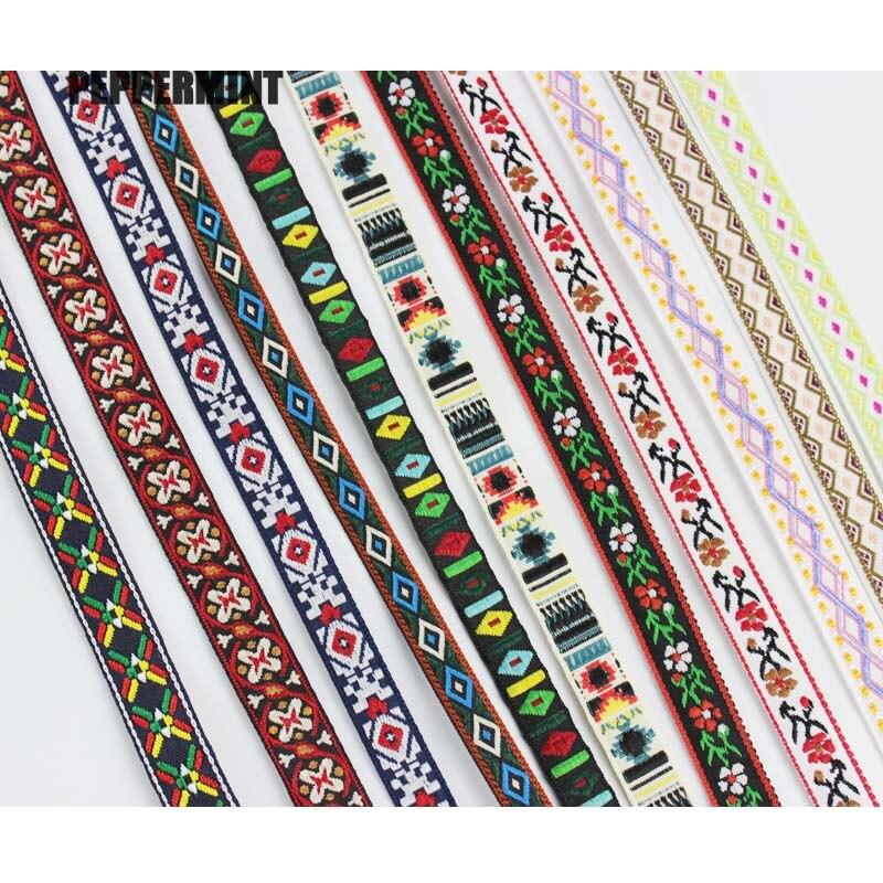 Вышитые этнические жаккардовые ленты, 2 ярда 10 мм, для украшения, рукоделия, одежды, шитья, головных уборов