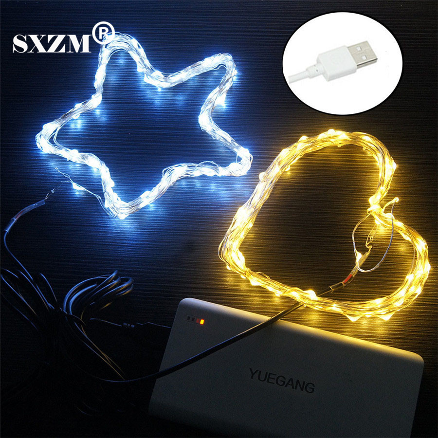 SXZM DC5V 5M 10M USB Copper Led string light with ON/OFF switch safe flexible portable holiday outdoor garden Xmas decoration