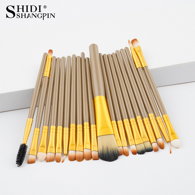 20ps cbrown/Rose Gold  Make up Brush Tools kit Eye Liner natural-synthetic hair beauty brushes good quality makeup tools brushes 4
