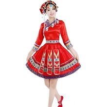 miao clothing hmong clothes for ladies With Hat Red miao hmong costume performance wear chinese long sleeve clothing