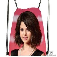 Custom Selena Gomez Cleavage Drawstring Backpack Bag Cute Daypack Kids Satchel (Black Back) 31x40cm#180531-03-56