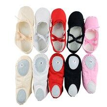 Детская Балетная обувь; парусиновые балетные танцевальные Тапочки с раздельной подошвой для девочек; Детские балетки для занятий танцами