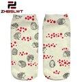 ZHBSLWT 3D Printed Women Socks New Unisex Cute Low Cut Ankle Socks Paws Little Hedgehog Women's Casual  Fashion-9856