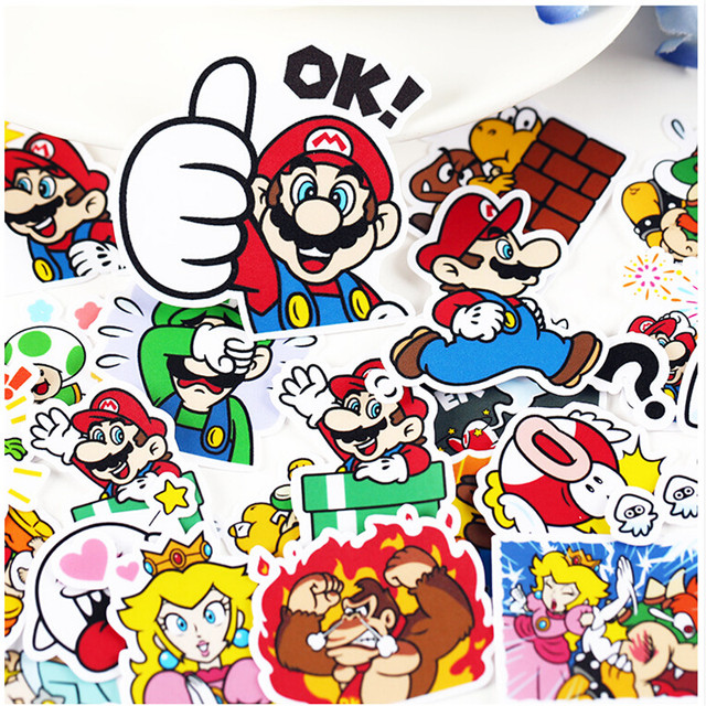 24pcs creative kawaii self made lovely mario stickers beautiful stickers decorative sticker