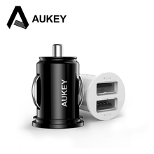 AUKEY 5V/4.8A Car-charger Dual USB Mini Car Charger for iPhone Samsung galaxy s8 Xiaomi redmi 4x Universal Phone Charger Car
