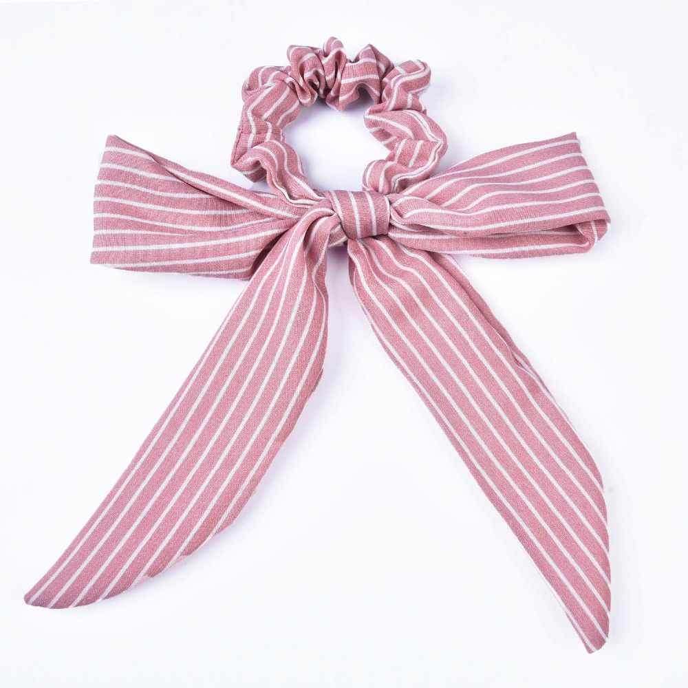 New Arrival Striped Bow detail Women Scarf Tie with Scrunchie for Women Hair Accessories Ponytial Holder