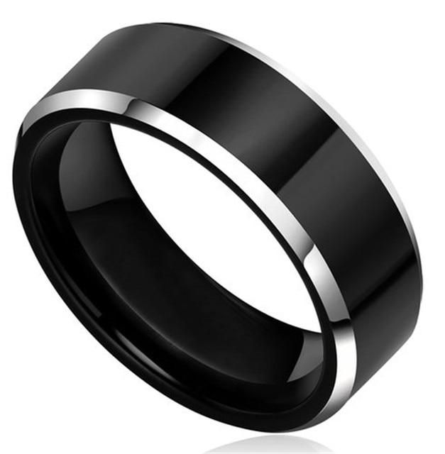 8MM Tungsten Titanium Metal Flat Top Two Tone Black Silver Wedding
