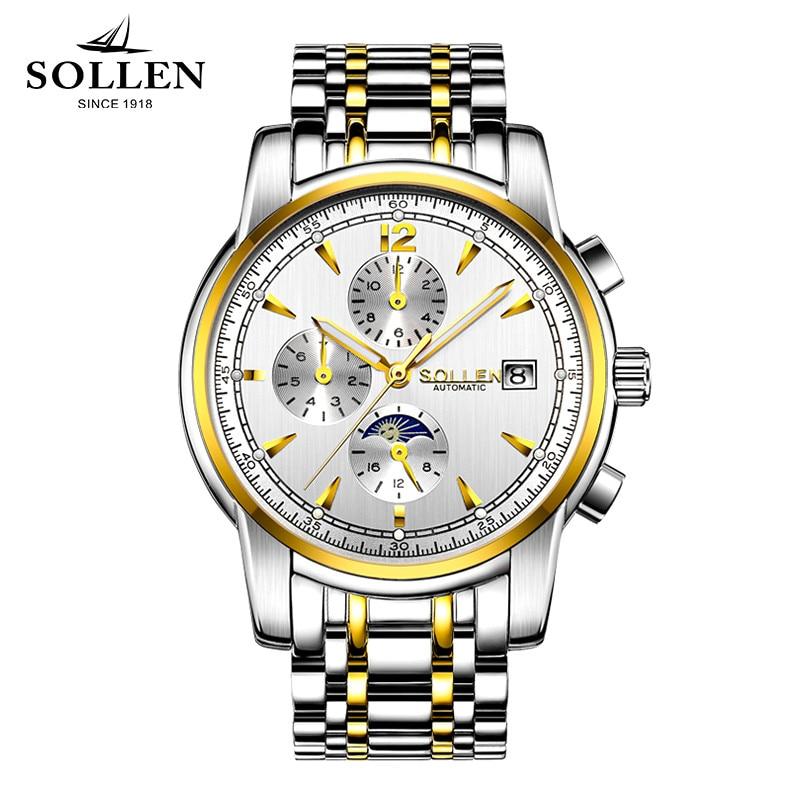 Montres SOLLEN montres mécaniques automatiques hommes saphir acier montre horloge étanche multifonctionnel hommes montres-bracelets Relogio