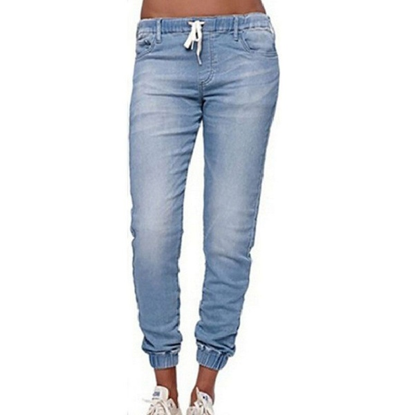 New Fashion Women's Casual Stretch Denim Ladies Drawstring Elastic Waist Jeans(China)