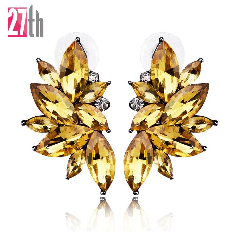 Opal Stone Stud Earrings Christmas Party 2016 Brand New Elegant Crystal Earrings For Women Trendy Golden Women Earrings