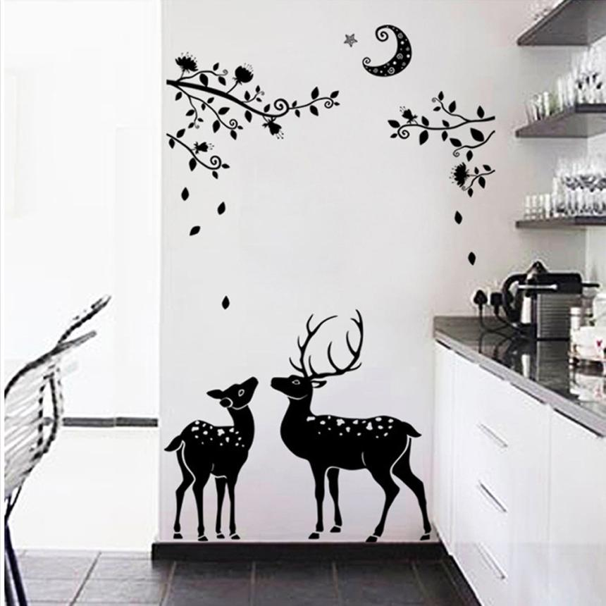 Permalink to Home Decor Moonless Deer Silhouettes Christmas Decoration Decal Window Stickers Home Decor wall sticker Home Deco mirror AU6
