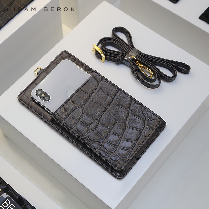 HIRAM BERON PHONE CARD HOLDER WITH SHOULDER STRAP COW LEATHER GREY COLOR PERSONALIZED SERVICE