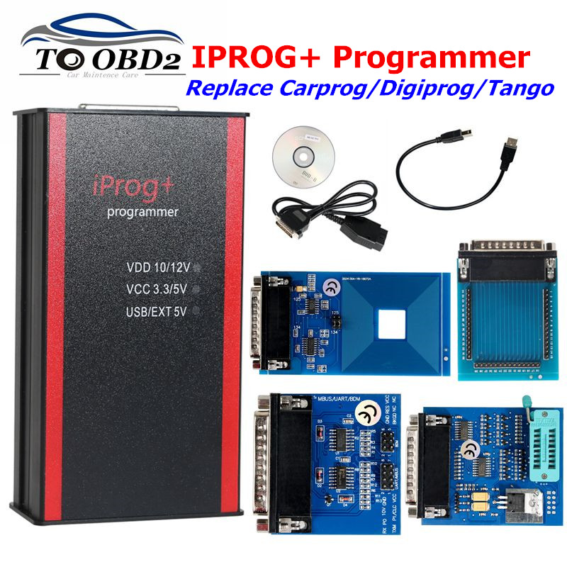 Newest Iprog Pro Programmer Support IMMO Mileage Correction Airbag Reset till the year 2019 Replace Carprog