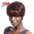 Sleek Virgin Human Hair Wigs, Red Human Hair Short Wigs for Black Women, Cheap Large African American wigs Brazilian Virgin hair