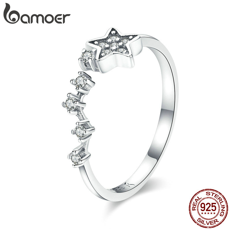 BAMOER Real 925 Sterling Silver Sparkling Secret Of Stars Clear CZ Finger Rings for Women Wedding Engagement Jewelry anel SCR440 vanaxin 925 sterling silver rings for men jewelry iced out cz crystal anel masculino joias engagement wedding rings bague homme