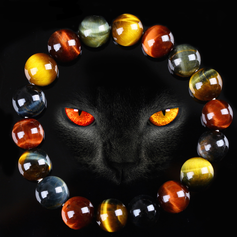 New Arrival Unique AAA 3 Color Red Yellow Blue Tiger Eye Natural Stone Beaded Bracelets Men Women Jewelry Energy Gift