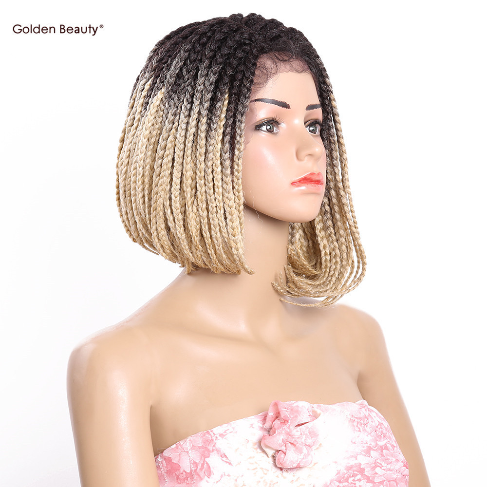 Golden Beauty 14inch Ombre Blonde Side part Lace front Short Bob Wig synthetic wigs for black women