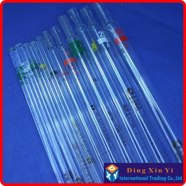 (10 peças/lote) 25 ml bureta de vidro, pipeta graduada, resolução de 0.1 ml, 25 ml medindo Pipeta de Vidro com codificação gand