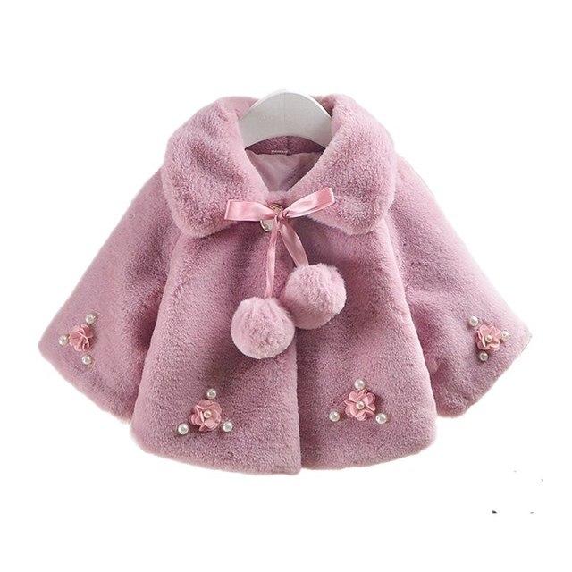 Winter Little Girls Jackets Faux Fur Snowsuit Baby Coat Kids Clothes Poncho Children Clothing Girl Outerwear Winterjas Meisjes