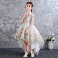 Girls Children Shoulderless Nobel Fancy Champagne Flowers Birthday Tail Dress Kids Children Communion Dresses For Christmas