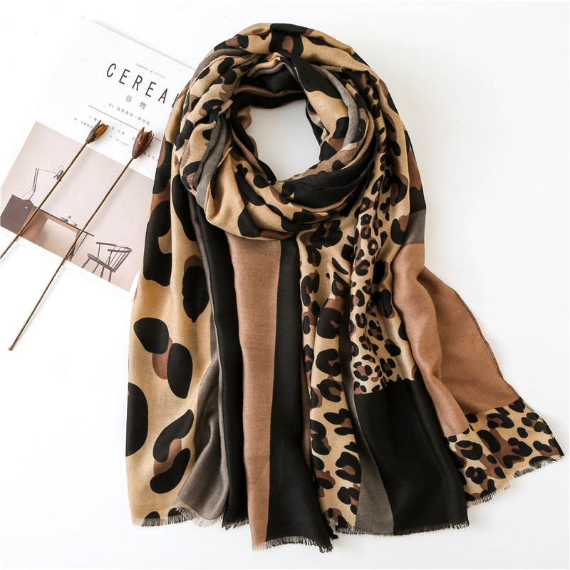 Fashion Winter Scarf For Women Hijab Viscose Warm Leopard Patchwork Scarf Luxury Brand Blanket Wraps Female Scarves And Shawls