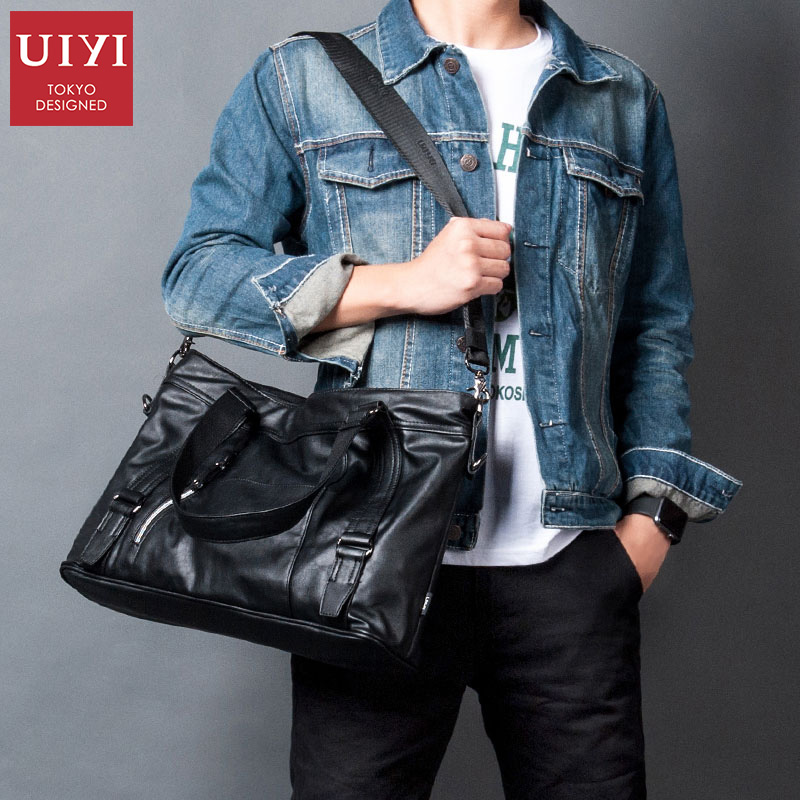 UIYI Brand 2018 Men leather Business Bags Men's Handbag Men Shoulder Bags 14' laptop Luggage Fashion Multifunctional Bag 7 types hollow dial wooden watch creative natural whole wood adjustable band men s sport casual dress hour clock reloj de madera