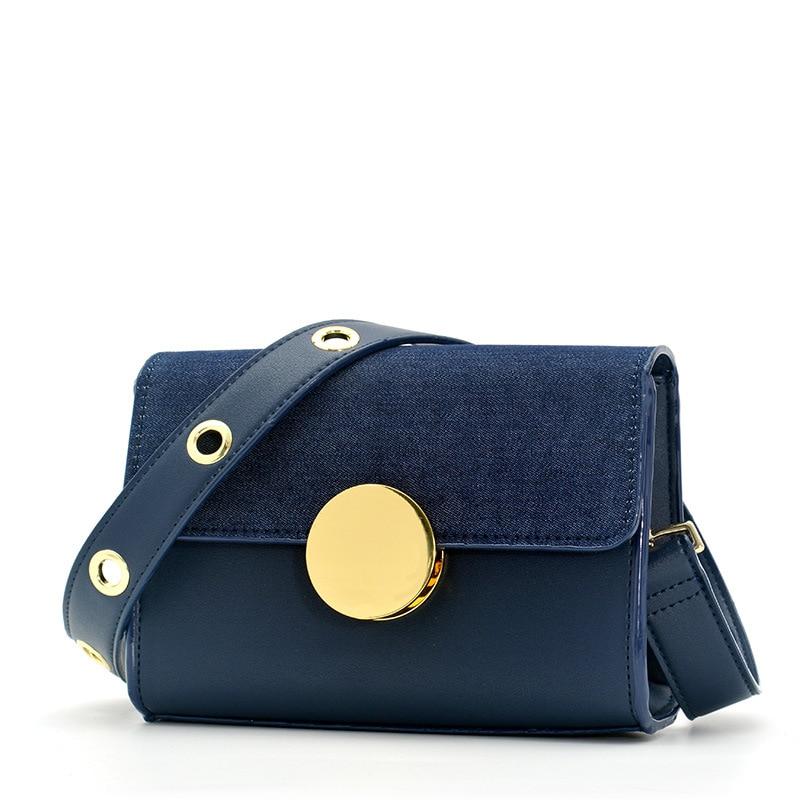 Wide shoulder strap worn handbag 2018 new denim fashion one shoulder little bread PU custom fashion pu wallet w shoulder strap hand strap brown