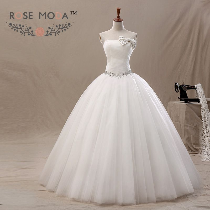 Rose Moda Crystal Ball Gown Removable Bow Crystal Sash White Ivory ...