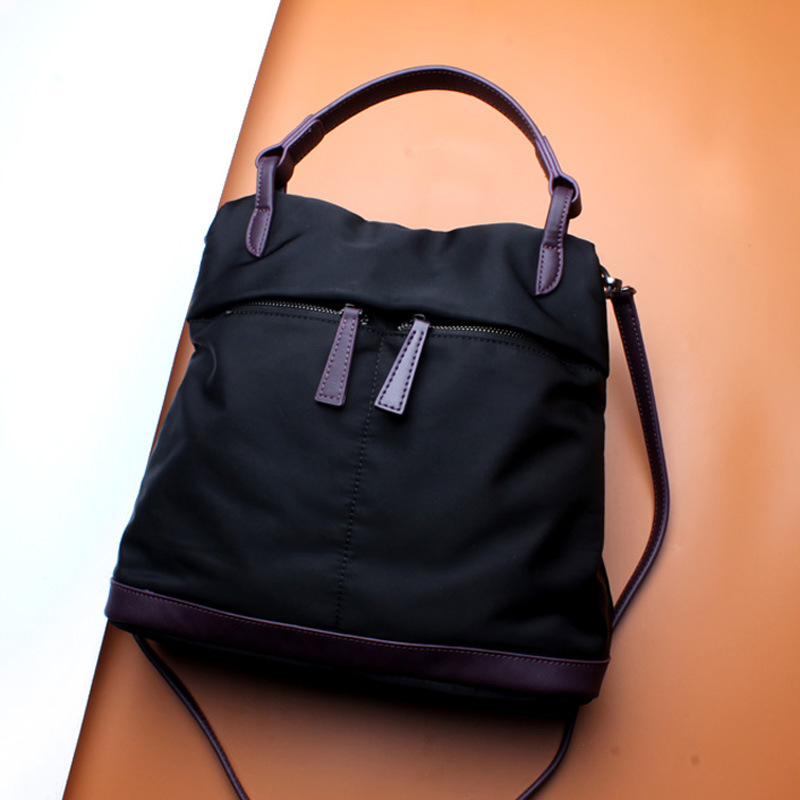 Japan and South Korea Oxford cloth with leather bag fresh zipper canvas bag bucket shoulder Messenger bag polyester 600d oxford cloth borsa termica pranzo lunch cooler thermal lunch bags tote shoulder bag with zipper bolsa isotermica