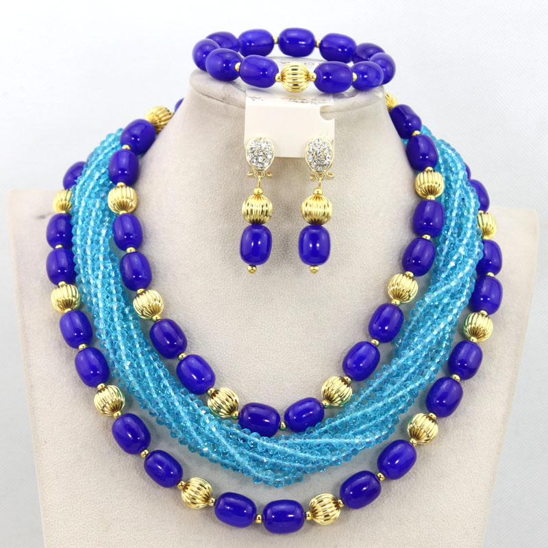The Latest Royal Blue Beads Polychromatic Surround Crystal Necklace Set Superstrong Stereoscopic Sense Free Shipping PJW109 hot sale suitcase cheap electric guitar suitcase cheap price