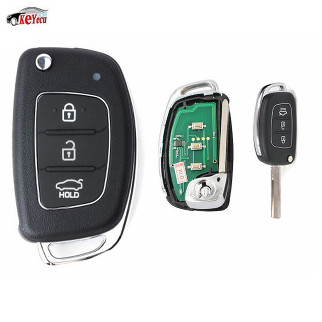 KEYECU Replacement 3 Button Smart Flip Remote Car Key Fob