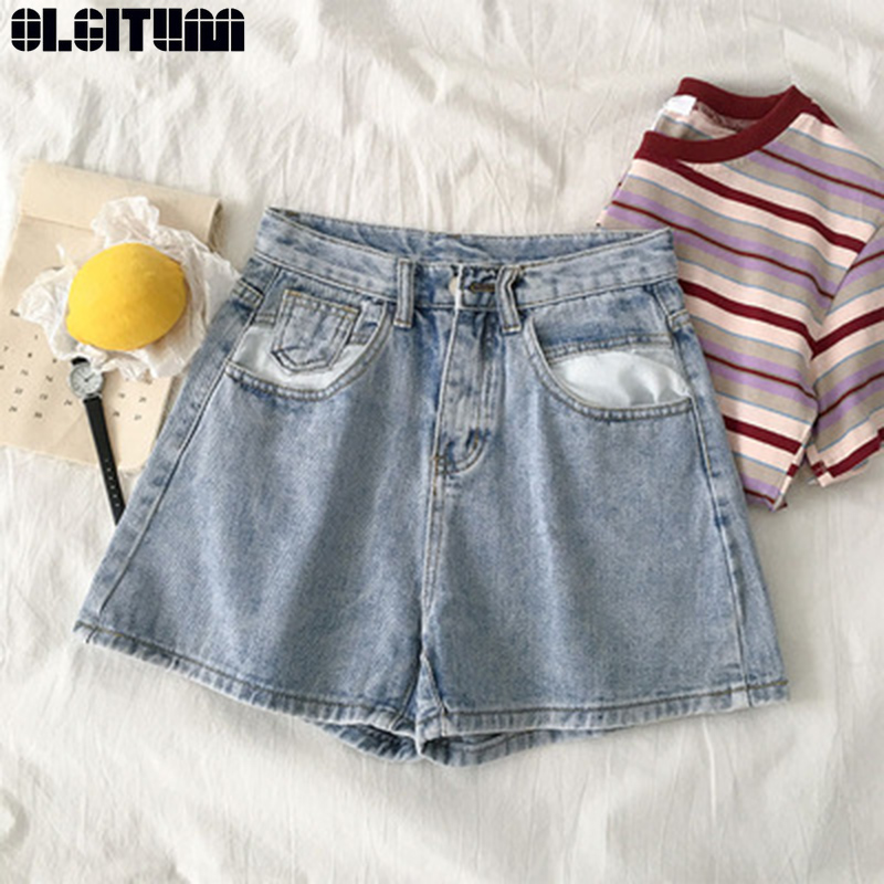 High Waist Wide Leg Denim Shorts Summer 2020 New Women's Korean Version Popular Loose Student Zipper Multi-pocket Short PT382