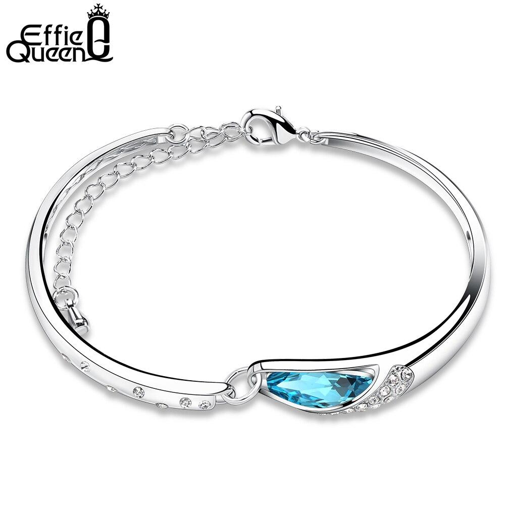 Effie Reine 2017 Romantique Bleu Autriche Cristal Goutte D'eau Bracelet Bracelet Blanc En Laiton Charme Bracelet pour les Femmes WB10