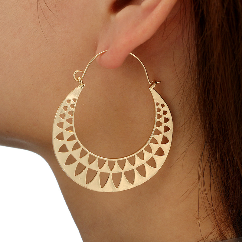 Tocona Boho Gold Silver Color Half Round Hollow Large Drop Dangle Earring For Women Tribe Vintage Pendant Earring Pendientes3802
